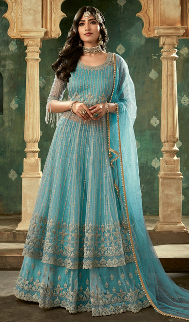 Net Sky Blue Color Embroidered Designer Suit