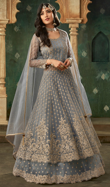 Gray Color Shaded Embroidered Net Designer Suit