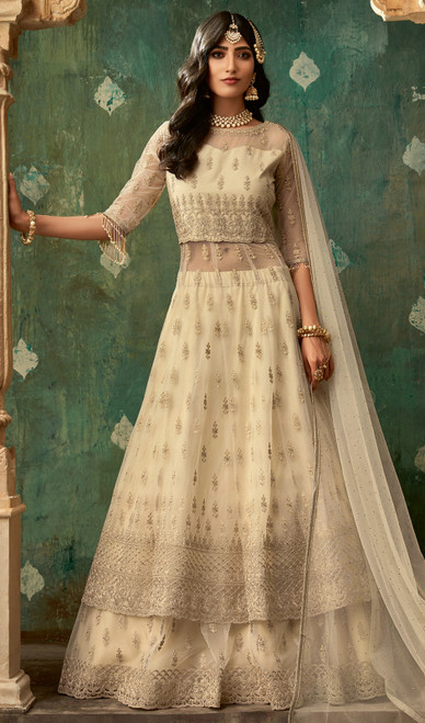 Net Beige Color Embroidered Designer Suit