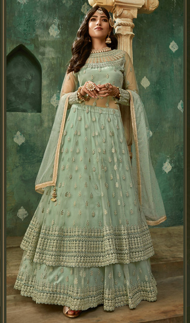 Net Embroidered Designer Suit in Sea Green Color