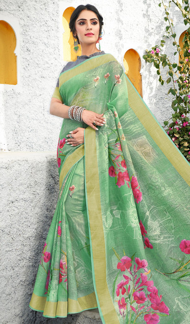 Linen Printed Light Green Color Saree