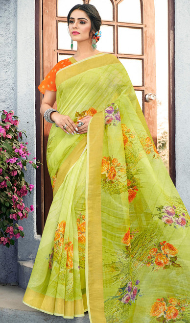 Linen Olive Color Shaded Printed Sari