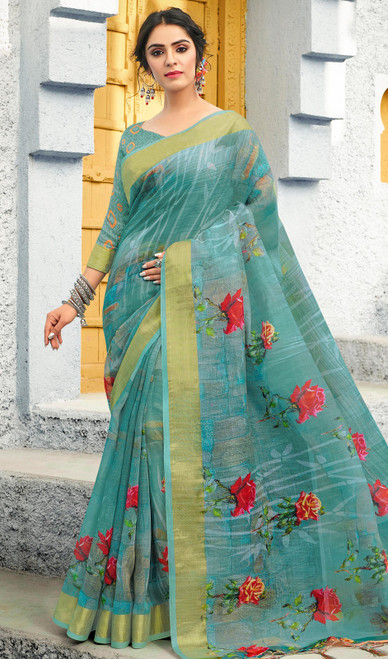Linen Printed Rama Green Color Sari