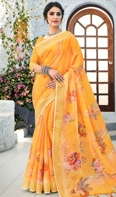 Linen Orange Color Shaded Printed Saree