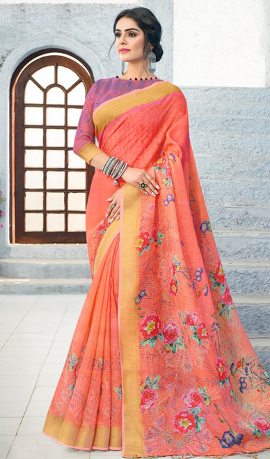 Linen Peach Color Indian Printed Sari
