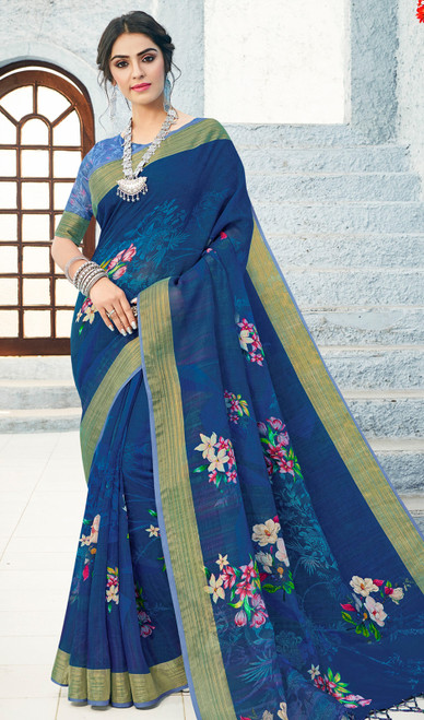 Linen Blue Color Shaded Printed Sari