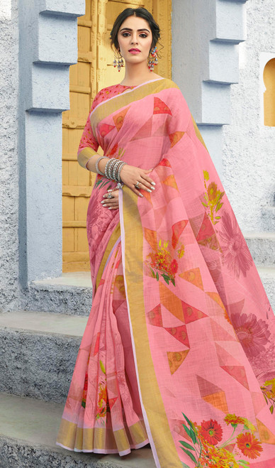 Linen Light Pink Color Shaded Printed Sari
