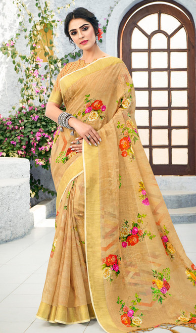 Linen Beige Color Shaded Printed Sari