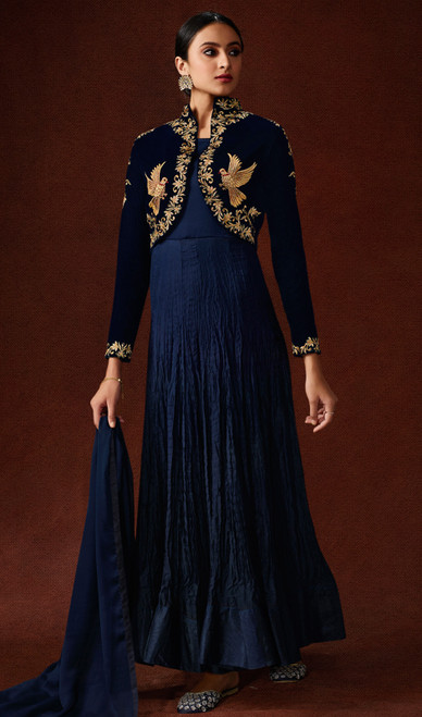 Satin Georgette Navy Blue Color Anarkali Suit