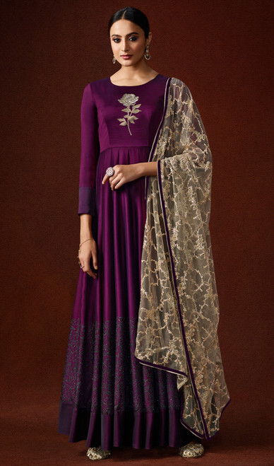 Purple Color Silk Georgette Anarkali Dress