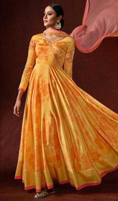 Silk Crepe Mustard Yellow Color Prnted Anarkali Suit