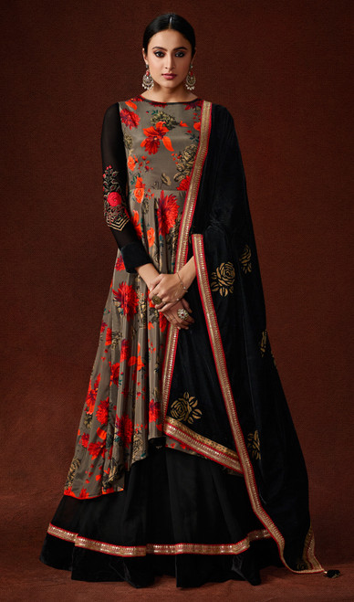 Silk Crepe Printed Designer Suit in Multicolor