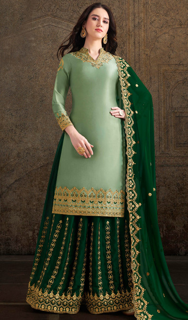 Satin Embroidered Palazzo Suit in Sea Green Color