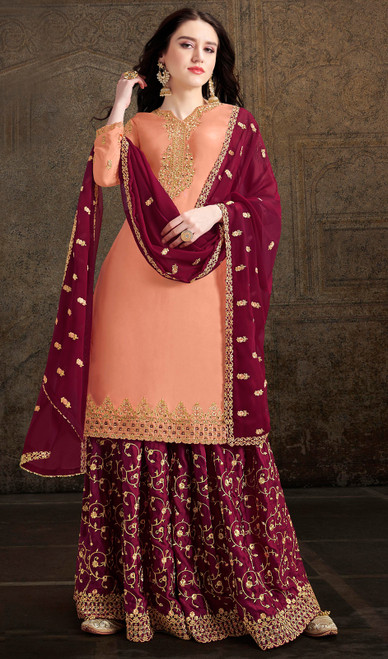 Orange Color Shaded Satin Embroidered Palazzo Suit