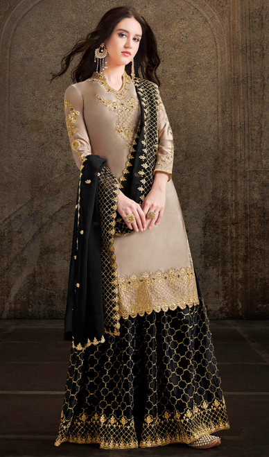 Satin Embroidered Designer Palazzo Dress in Beige Color