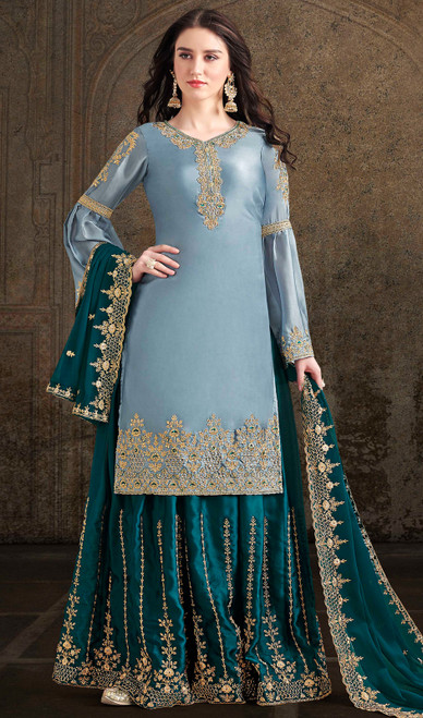 Satin Embroidered Palazzo Dress in Sky Blue Color