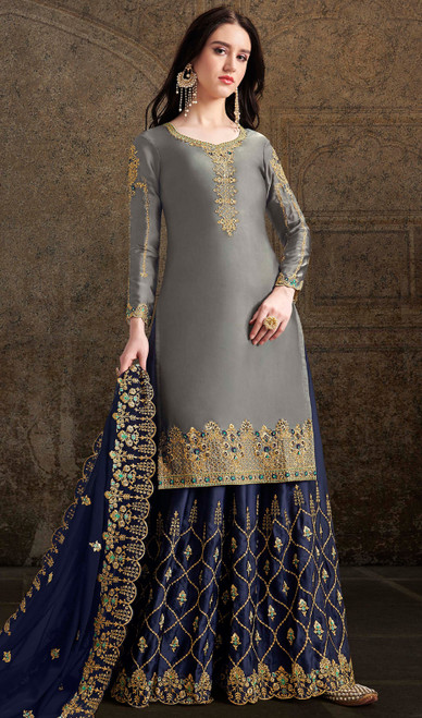 Satin Embroidered Palazzo Dress in Gray Color