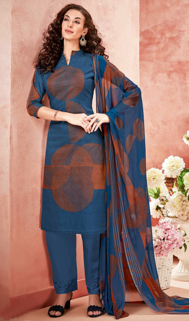 Cotton Printed Pant Style Suit in Blue Color