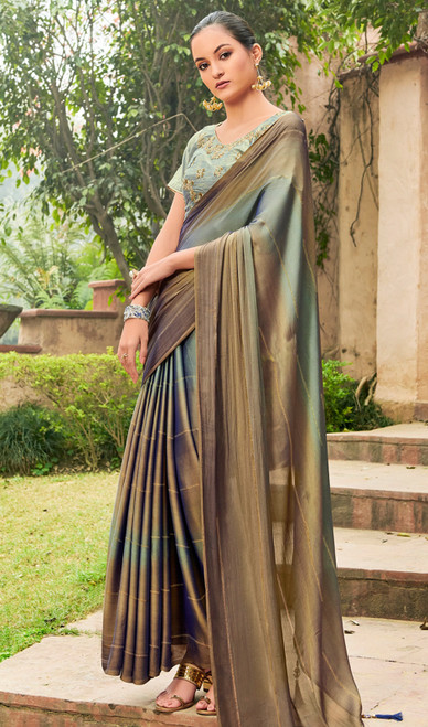 Chiffon Gray and Copper Color Embroidered Sari