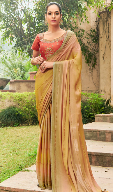 Chiffon Embroidered Sari in Golden Color
