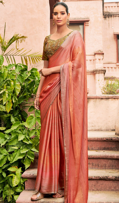 Chiffon Embroidered Sari in Light Peach Color