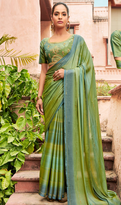 Gray And Green Color Chiffon Embroidered Sari