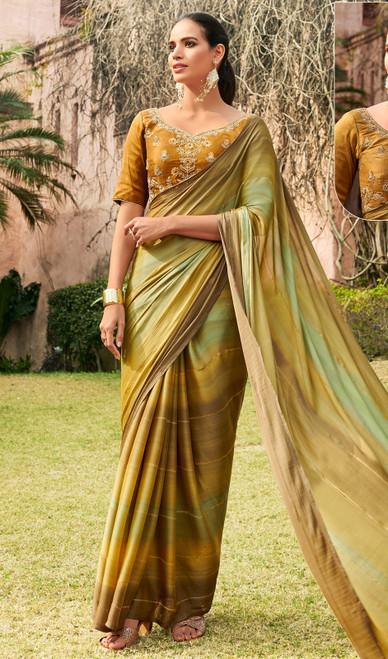 Chiffon Embroidered Sari in Multicolor