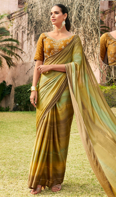 Chiffon Embroidered Sari in Multicolor