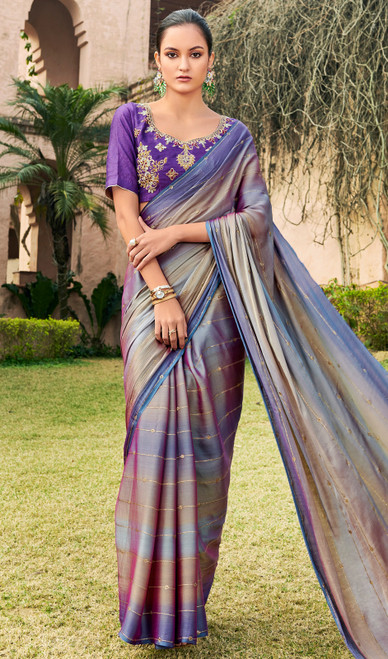 Purple Color Shaded Chiffon Embroidered Sari