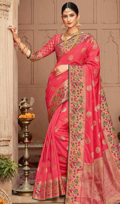 Salmon Color Shaded Silk Indian Sari