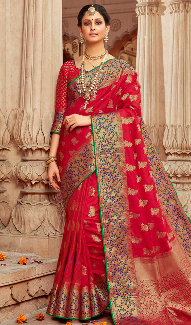 Red Color Shaded Traditional Silk Sari