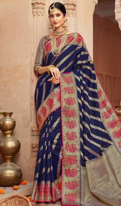 Silk Navy Blue Color Shaded Sari