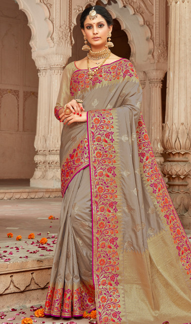 Silk Fabric Sari in Gray Color Shaded