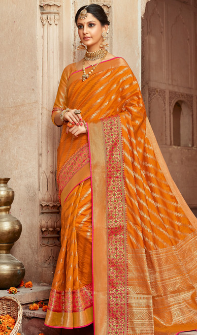 Mustard Color Shaded Silk Saree