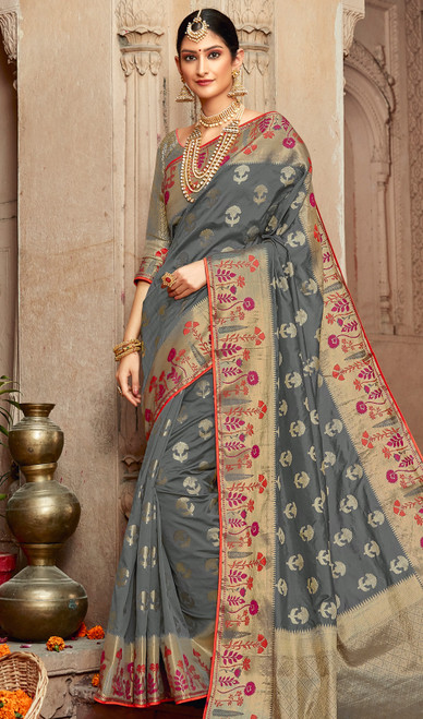 Silk Gray Color Shaded Saree