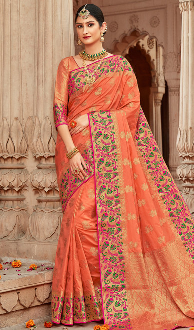 Light Peach Color Shaded Silk Sari