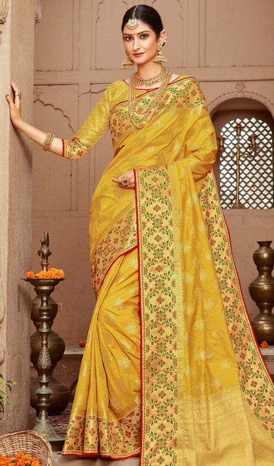 Silk Lemon Yellow Color Silk Sari