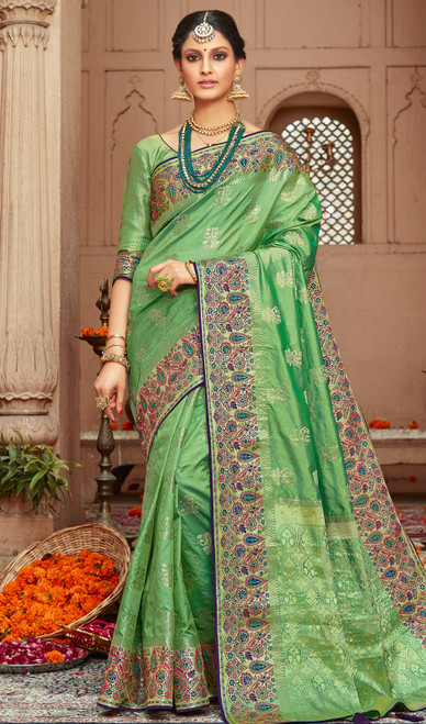 Light Green color Shaded Silk Sari