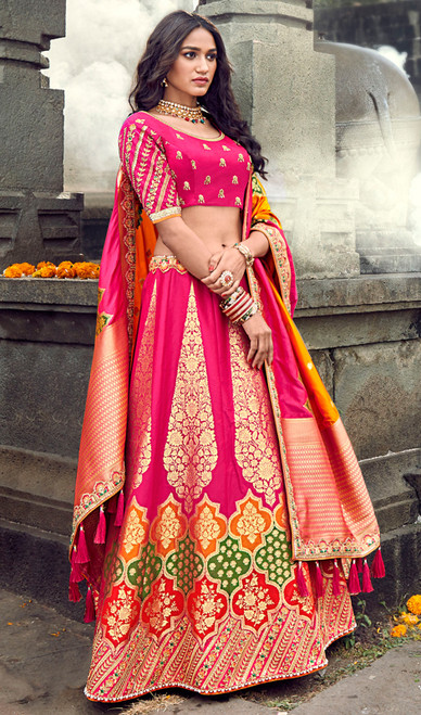 Silk Embroidered Designer Choli Skirt in Pink and Orange Color