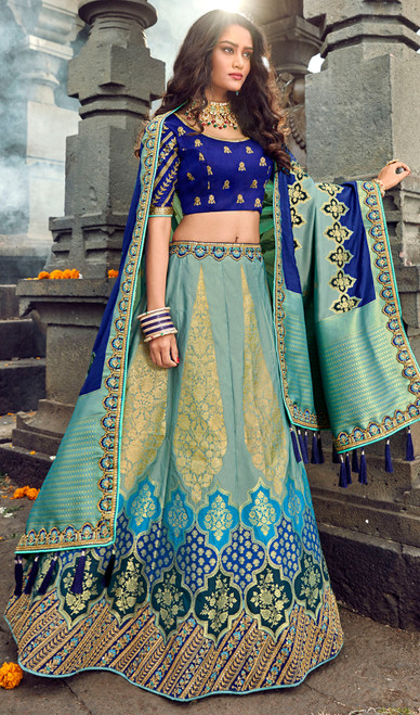 Silk Embroidered Lehenga Choli in Sky Blue and Royal Blue Color