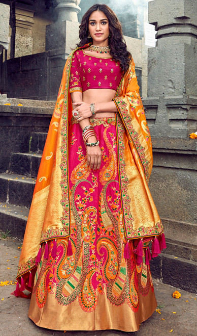 Silk Embroidered Lehenga Choli in Rani Pink and Orange Color