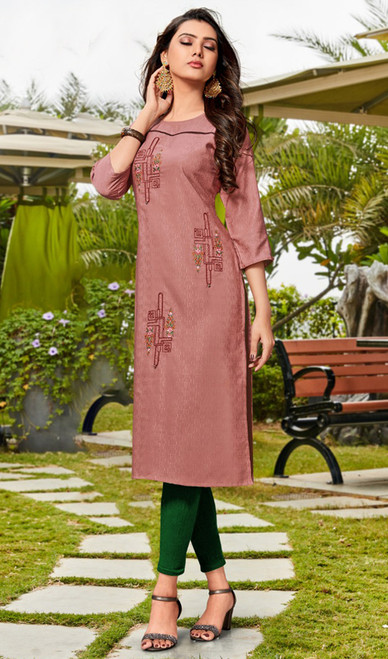 Rayon Embroidered Designer Tunic in Light Brown Color