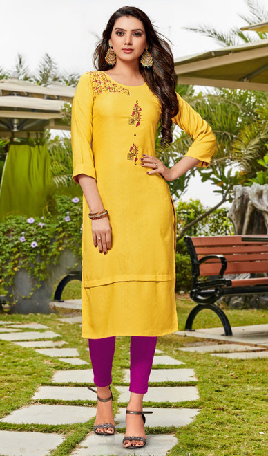 Rayon Embroidered Tunic in Lemon Yellow Color