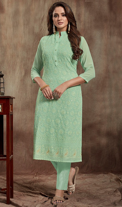 Pista Color Georgette Indian Kurti