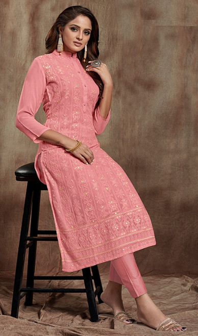 Light Pink Color Shaded Georgette Kurti