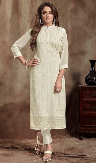 Georgette Off White Color Long Kurti