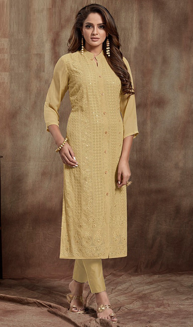 Beige Color Shaded Georgette Kurti