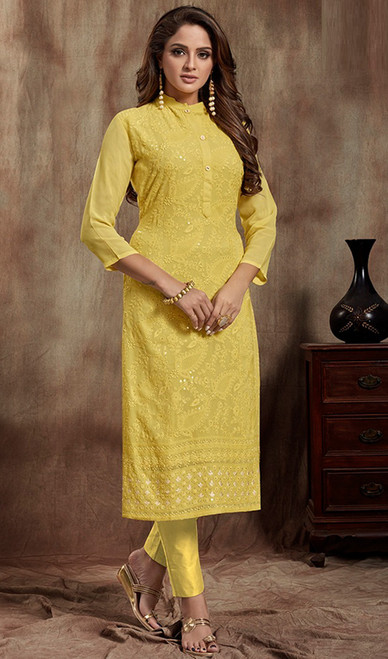 Yellow Color Shaded Georgette Kurti