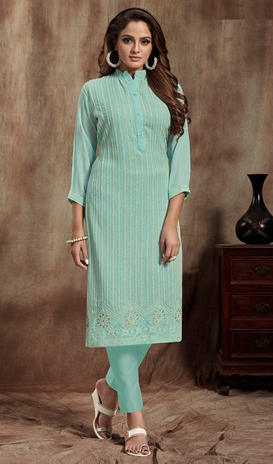 Sky Blue Color Georgette Straight Kurti