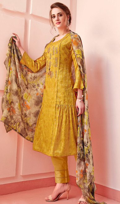 Cotton Embroidered Pant Style Suit in Mustard Yellow Color